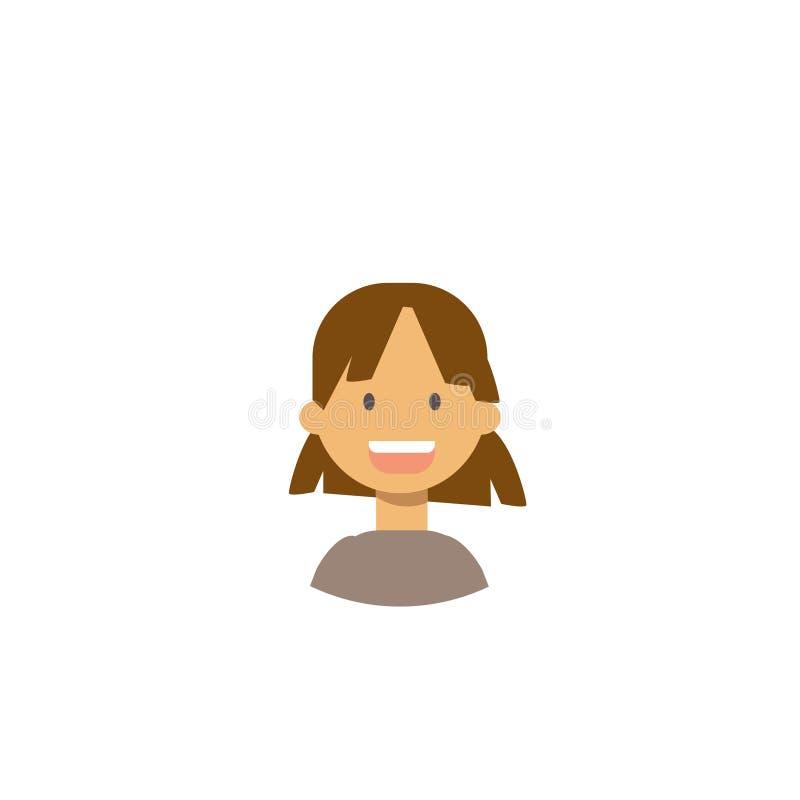 Gulliga barn vänder mot den lyckliga flickaståenden på vit bakgrund, kvinnlig avatarlägenhet stock illustrationer