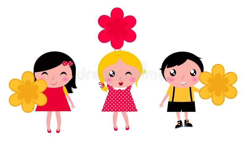 gulliga blommaungar little stock illustrationer