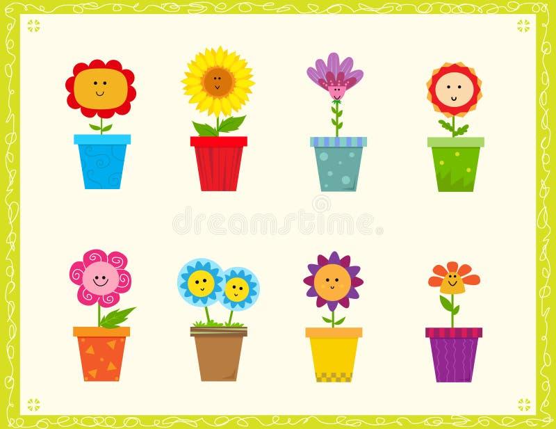 gulliga blommor royaltyfri illustrationer