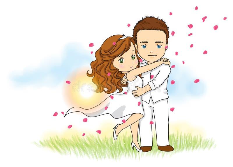 Gulliga brölloppar - för att gifta sig inbjudan, logo eller att gifta sig affärsmaskot royaltyfri illustrationer