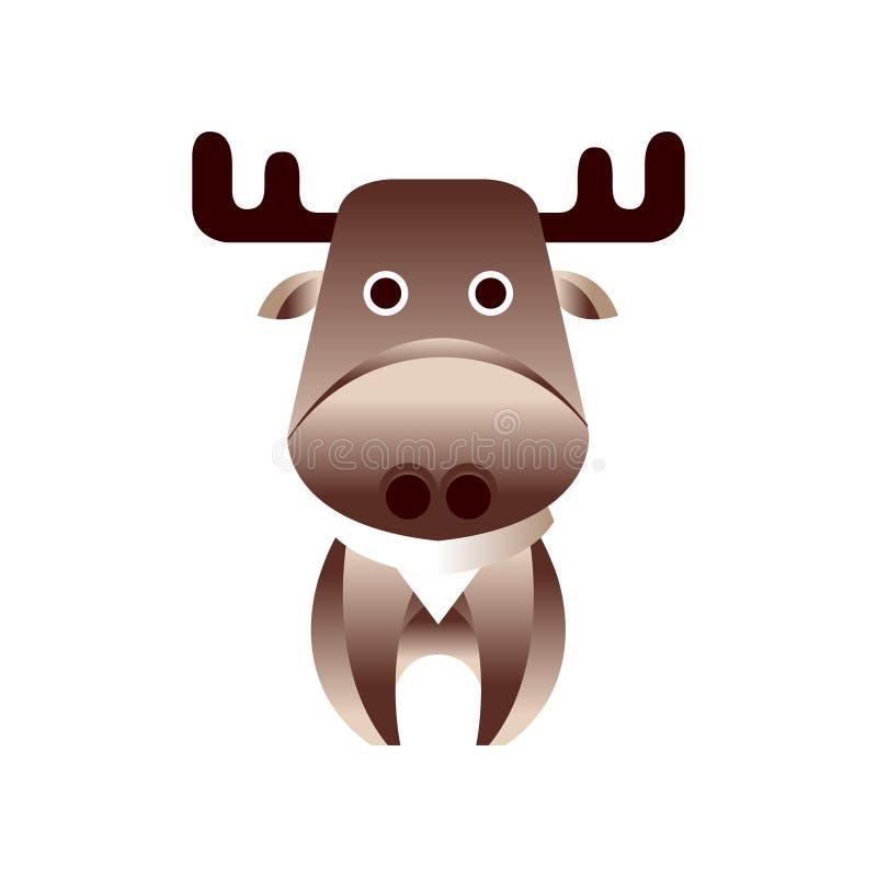 Gulliga bruna hjortar, stiliserad geometrisk djur låg poly designvektorillustration royaltyfri illustrationer