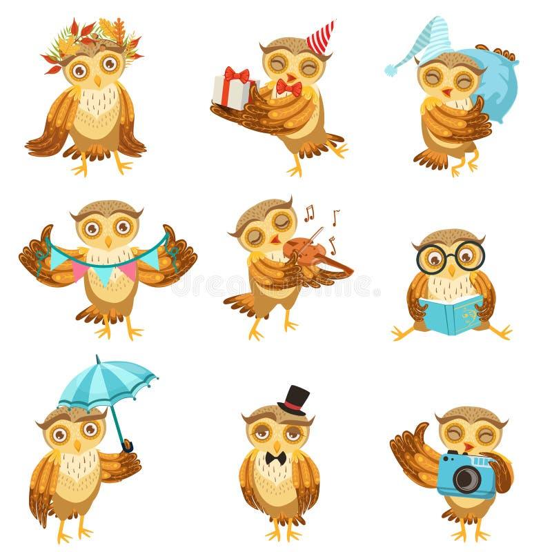 Gulliga bruna Owl Everyday Activities Icon Set vektor illustrationer