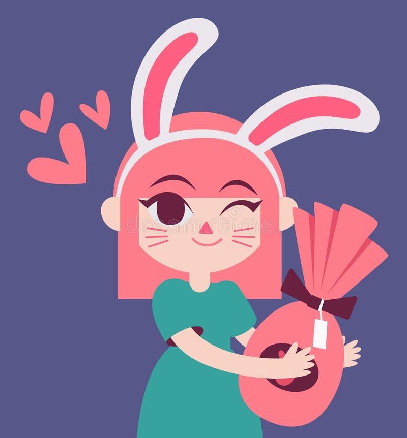 Gulliga Bunny Girl Holding per gåva royaltyfri illustrationer