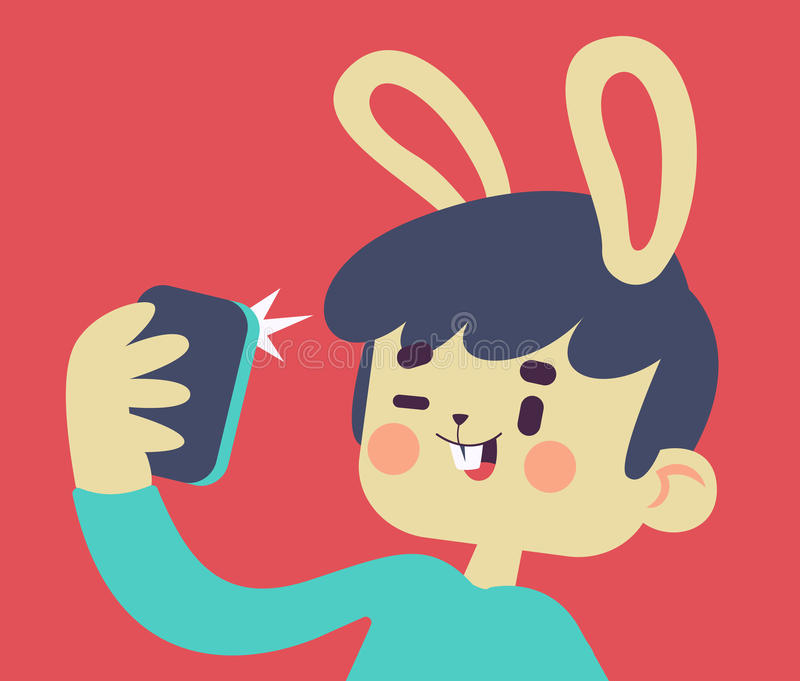 Gulliga Bunny Taking en Selfie vektor illustrationer