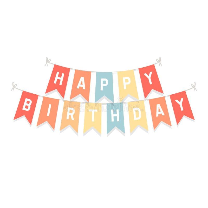 Gulliga bunting flaggor med lycklig födelsedag för bokstäver som isoleras på vit bakgrund stock illustrationer