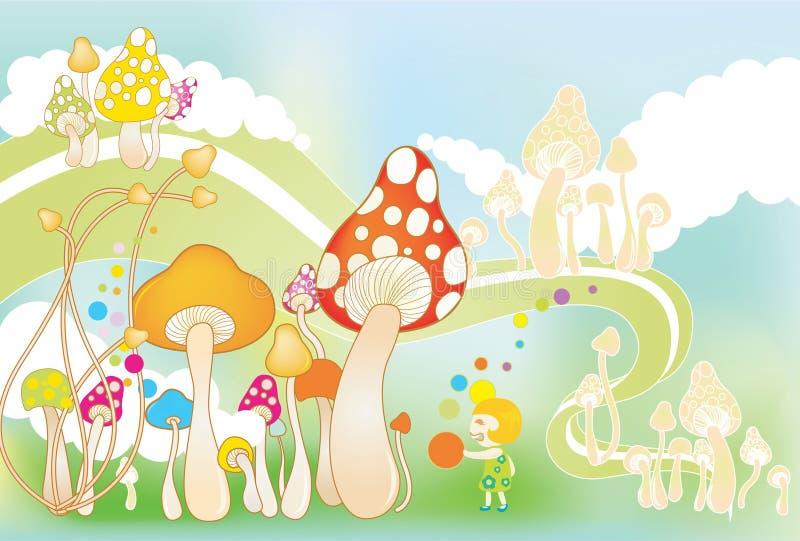 gulliga champinjoner stock illustrationer