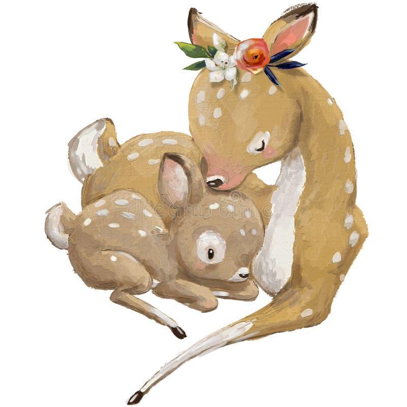 Gulliga deerspar - mamma och unge vektor illustrationer