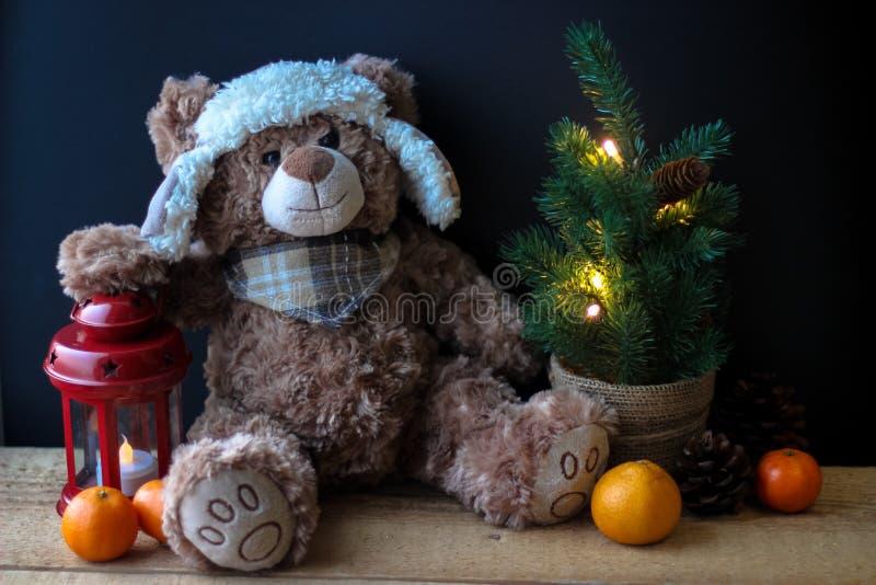 Gulliga den leksakbjörnen som rymmer, tafsar på en röd lykta på en svart bakgrund I ramen kan du se en liten julgran med royaltyfri foto