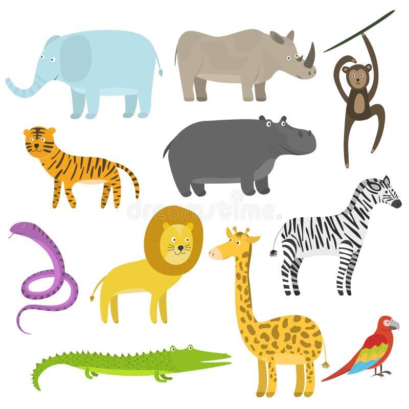Gulliga den tropiska tecknad filmlägenheten och djungeldjur ställde in vektor illustrationer