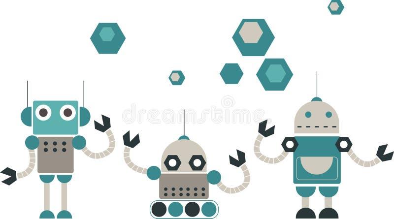 gulliga designrobotar stock illustrationer