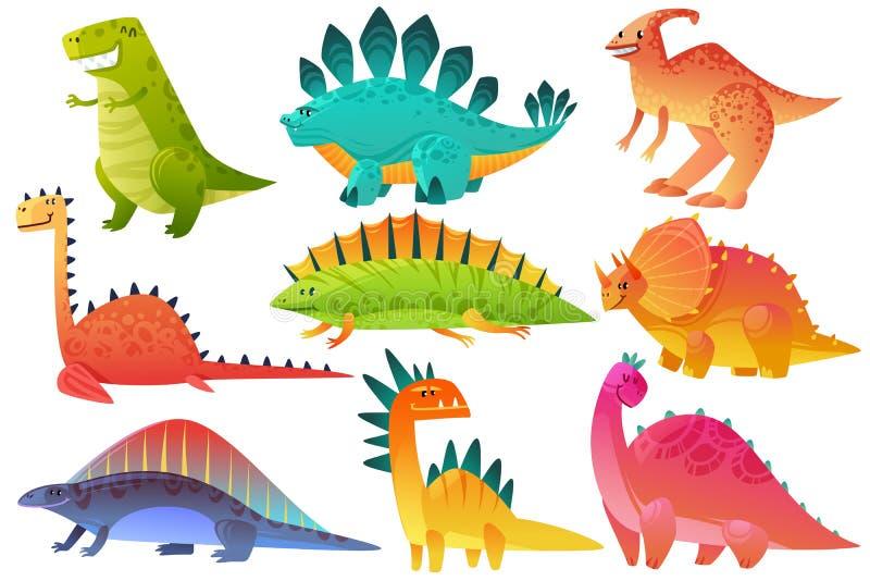 gulliga dino Dinos för brontosaurus för pterosaur för ungar för natur för tecken för dinosauriedrakevilda djur figurerar lyckliga royaltyfri illustrationer