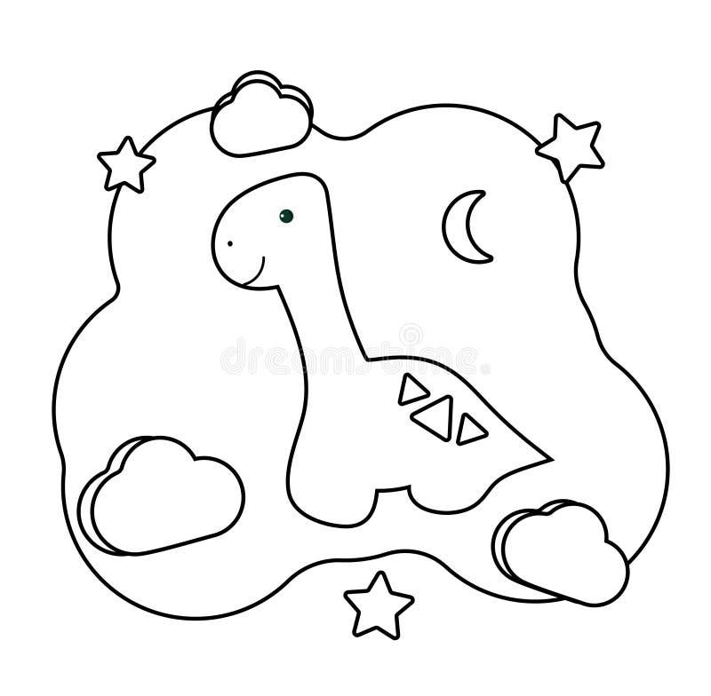 gulliga dino E Tryckbar lek p stock illustrationer