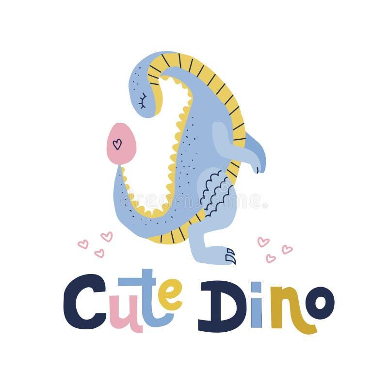 Gulliga dino som märker citationstecken Blå dinosaurie med att se på illustration för tecknad film för plan hand för ägg utdragen vektor illustrationer