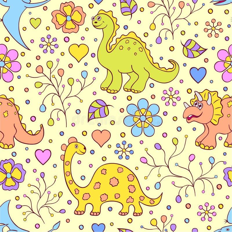 Gulliga dinosaurier vektor illustrationer