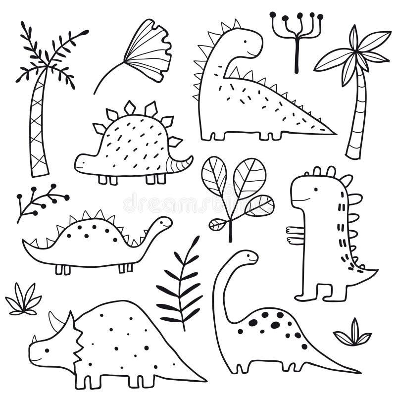 Gulliga dinosaurier och vändkretsväxter stock illustrationer
