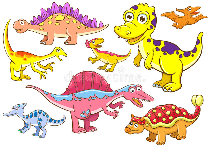 Gulliga dinosaurs stock illustrationer