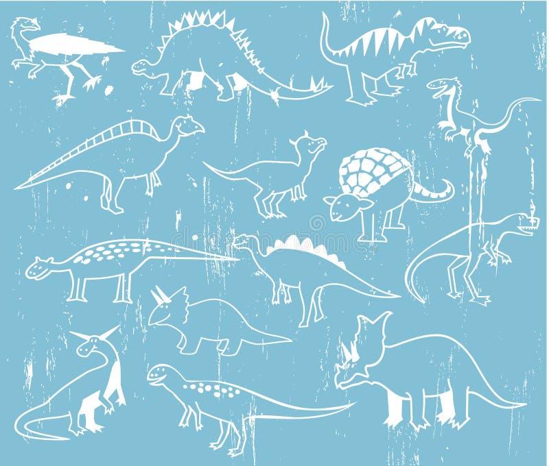 gulliga dinosaurs för tecknad film stock illustrationer