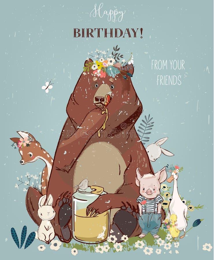 Gulliga djur för födelsedag - björn och annan royaltyfri illustrationer