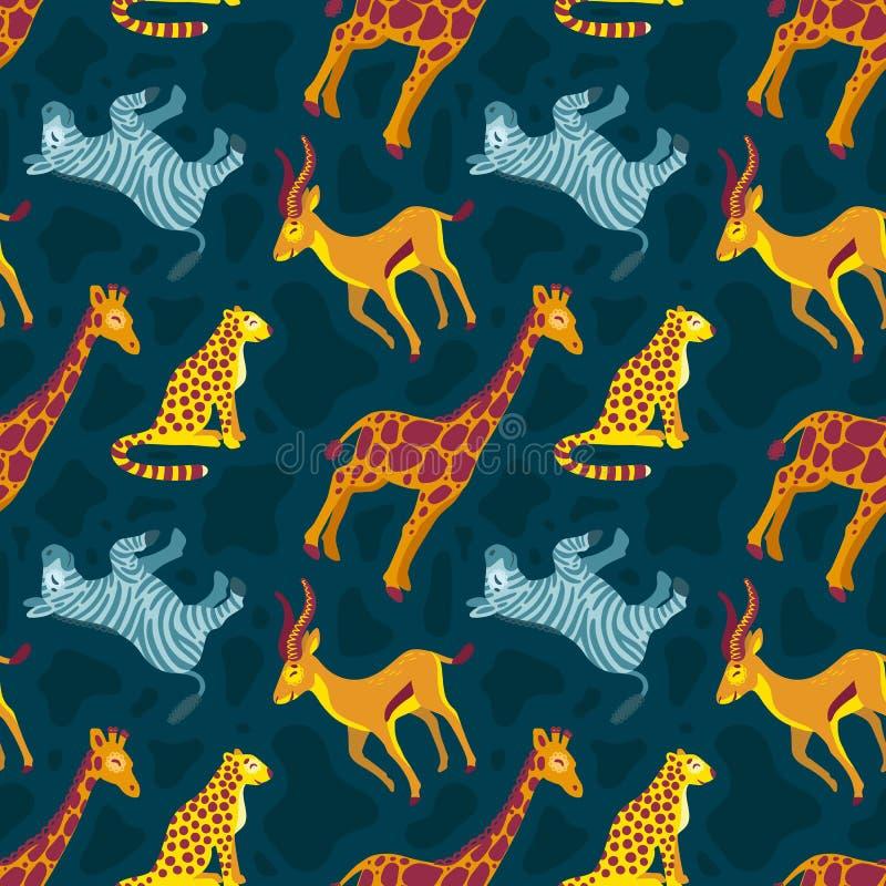 Gulliga djur giraff, sebra, gepard för tropisk afrikan S?ml?s modell p? m?rk bakgrund vektor illustrationer