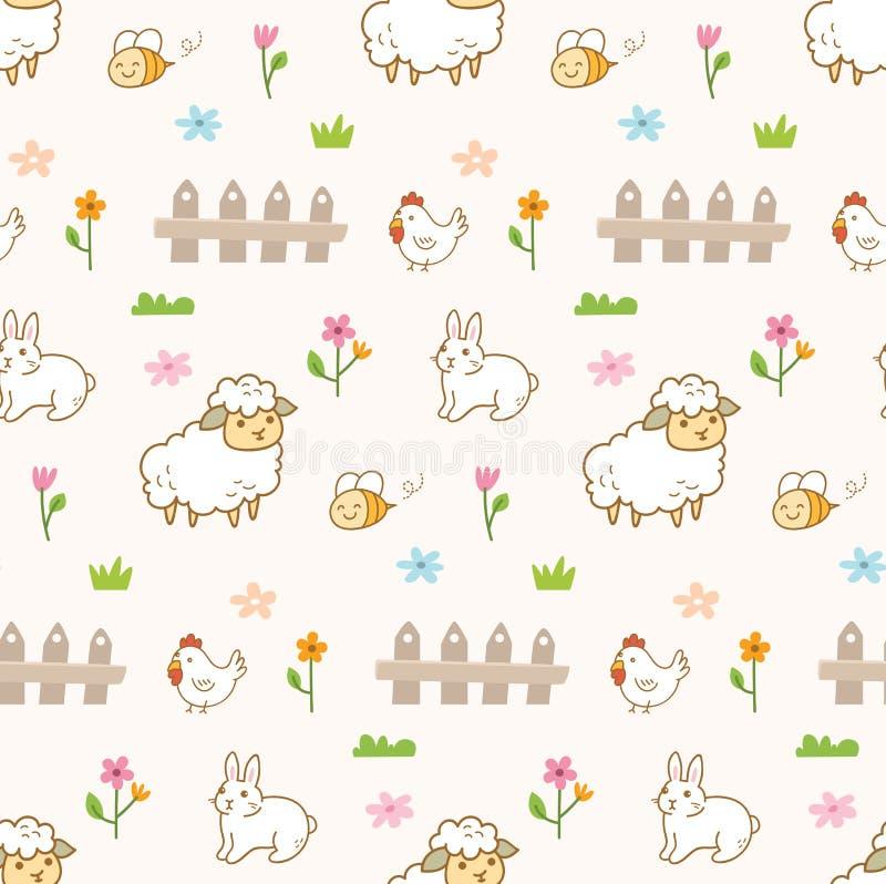 Gulliga djur i den sömlösa bakgrunden för lantgård vektor illustrationer