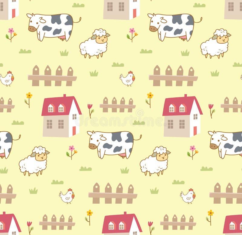 Gulliga djur i den sömlösa bakgrunden för lantgård med kon, får och höna vektor illustrationer