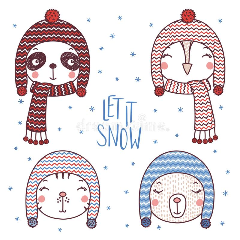 Gulliga djur i varma hattar stock illustrationer