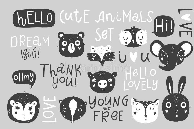 Gulliga djur isolerade illustrationen och bokstäver för barn vektor illustrationer