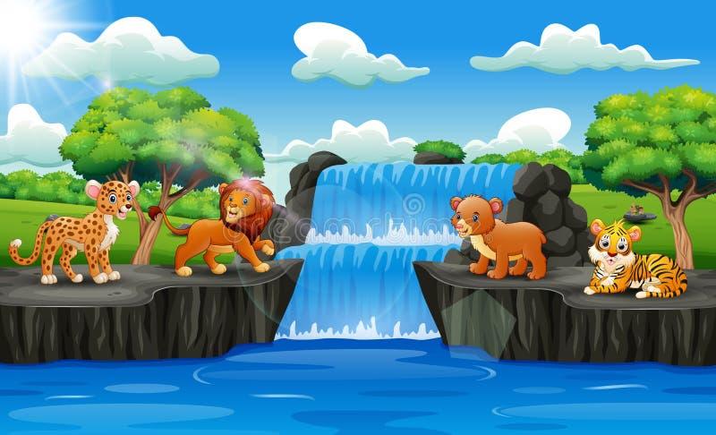 Gulliga djur med vattenfalllandskap stock illustrationer