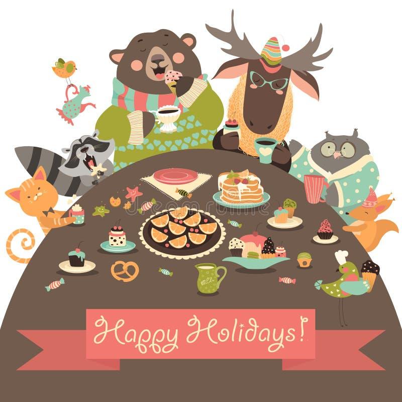 Gulliga djur som firar ferier stock illustrationer