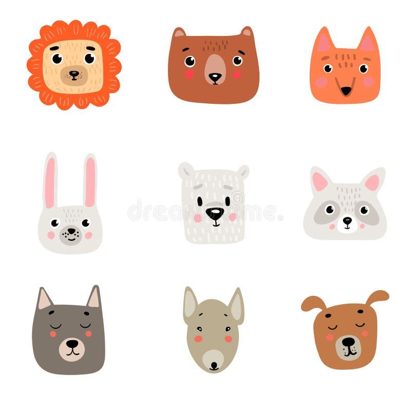 9 gulliga djura huvud: lejon björn, räv, hare, polar vit björn, tvättbjörn, varg, groptjur, hund royaltyfri illustrationer