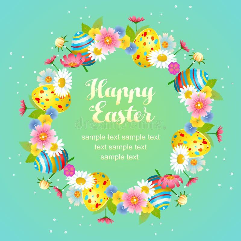 Gulliga easter som är blom- med äggkransen royaltyfri illustrationer