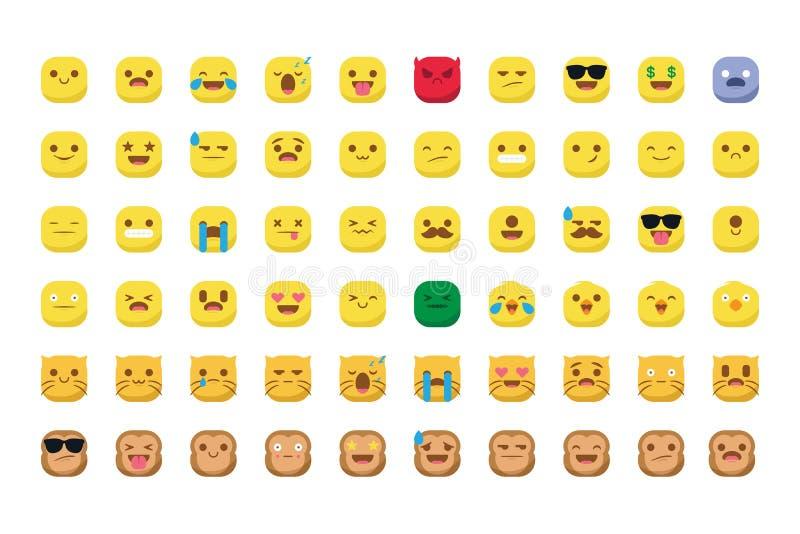 Gulliga emojis med den isolerade katt- och apasmileyvektorn royaltyfria bilder