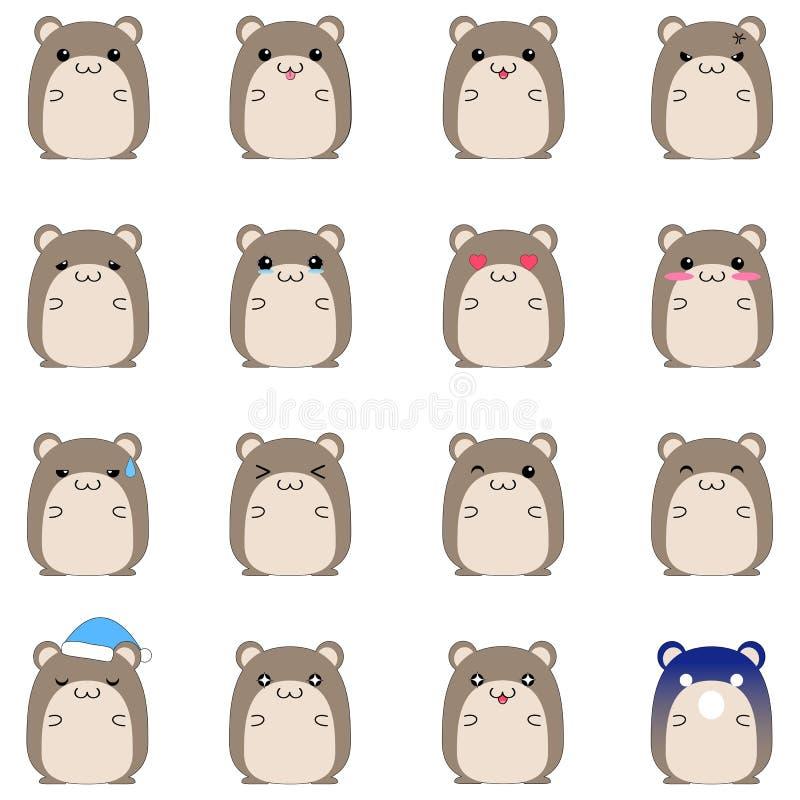 gulliga emotionella hamstersymboler stock illustrationer