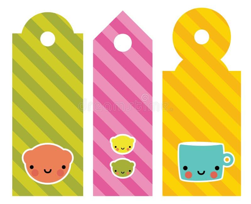 gulliga etiketter stock illustrationer