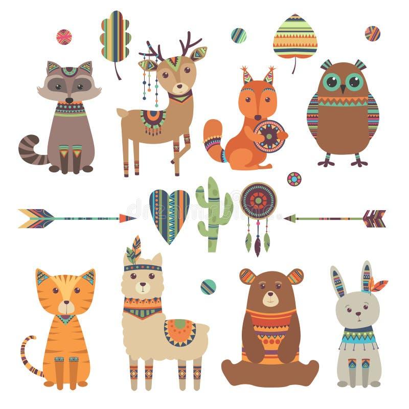 Gulliga etniska djur För zoobjörn för stam- unge lös tiger för tvättbjörn för uggla med design för fjäderpil- och modellvektor stock illustrationer