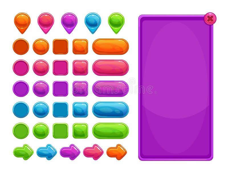 Gulliga färgrika abstrakta tillgångar för lek eller rengöringsdukdesign stock illustrationer