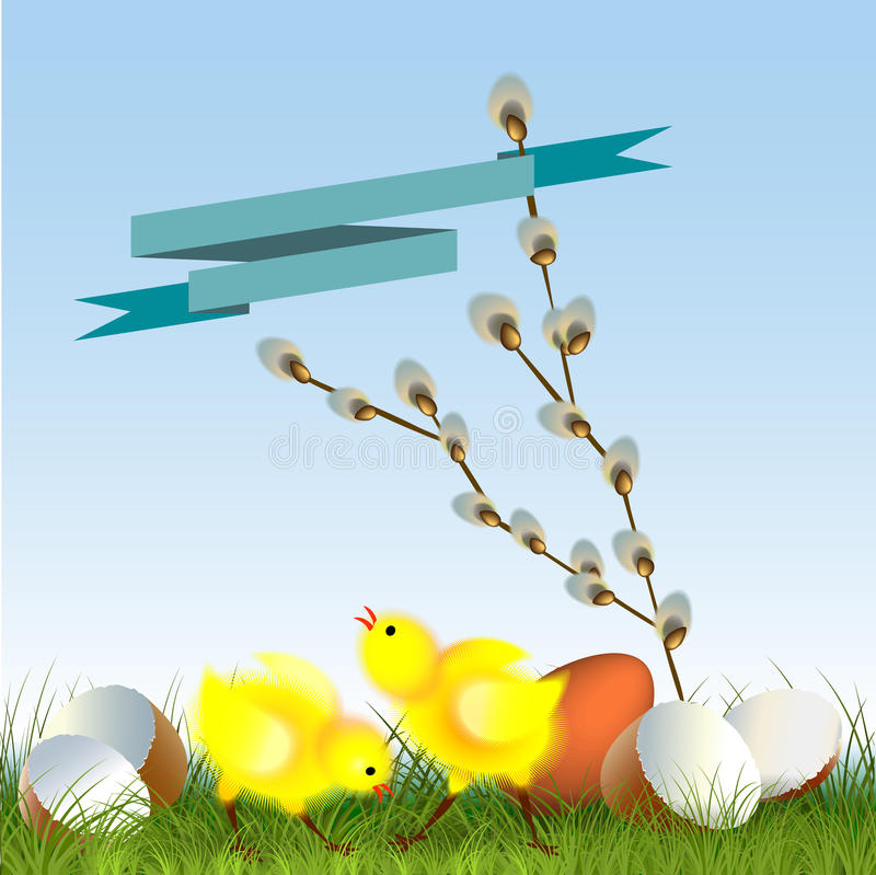Gulliga fågelungar på påsk arkivbilder