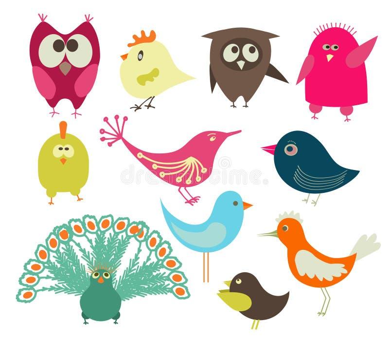 gulliga fåglar royaltyfri illustrationer