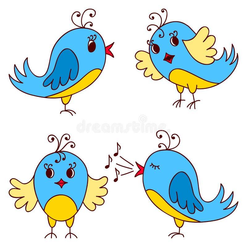 gulliga fåglar vektor illustrationer
