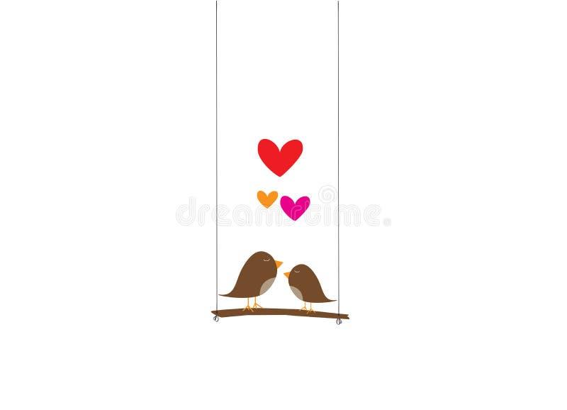 Gulliga fåglar kopplar ihop konturvektorn, färgrika fåglar på gunga med hjärtaillustrationen, väggdekaler, förälskade fåglar, väg royaltyfri illustrationer