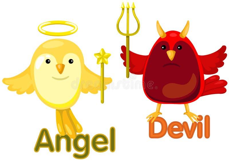 Gulliga fåglar med motsatta ord vektor illustrationer