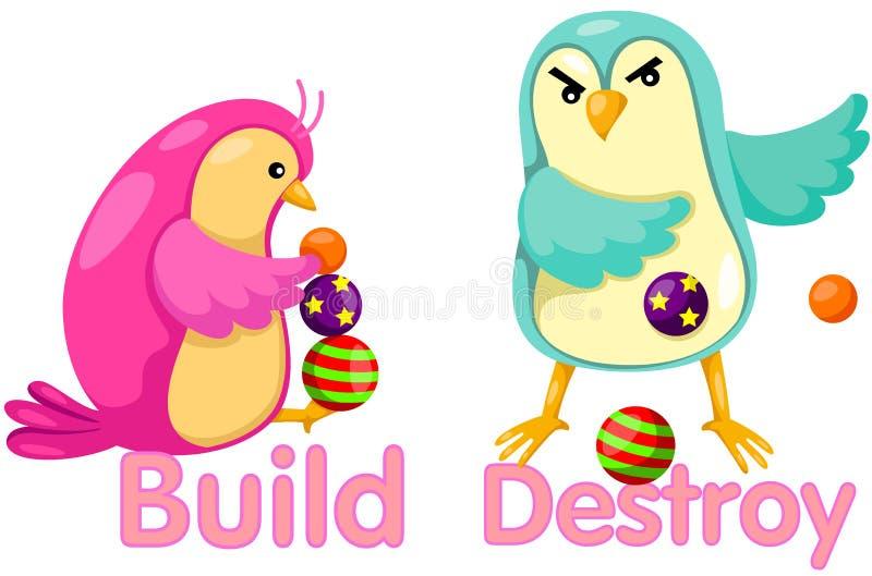 Gulliga fåglar med motsatta ord stock illustrationer