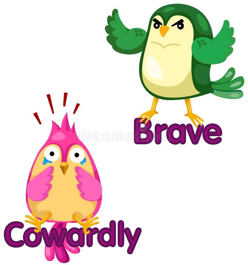 Gulliga fåglar med motsatta ord royaltyfri illustrationer