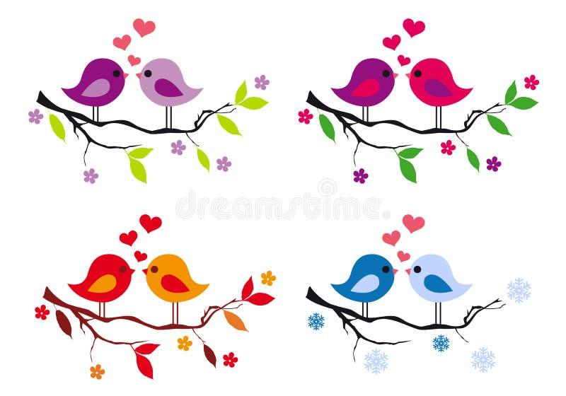 Gulliga fåglar med röda hjärtor på trädet, vektoruppsättning stock illustrationer