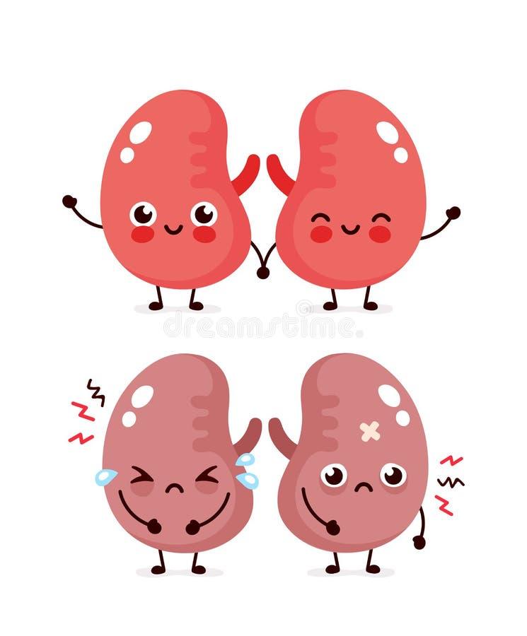 Gulliga för ledset lidande sjuka och sunda lyckliga njure vektor illustrationer