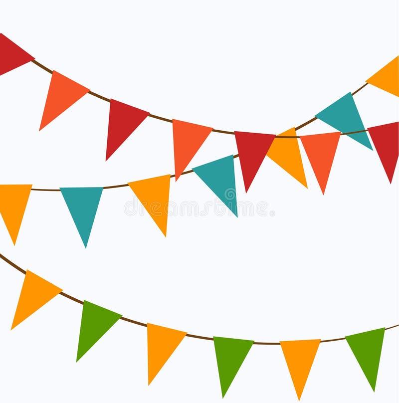 Gulliga festliga färgrika flaggor stock illustrationer