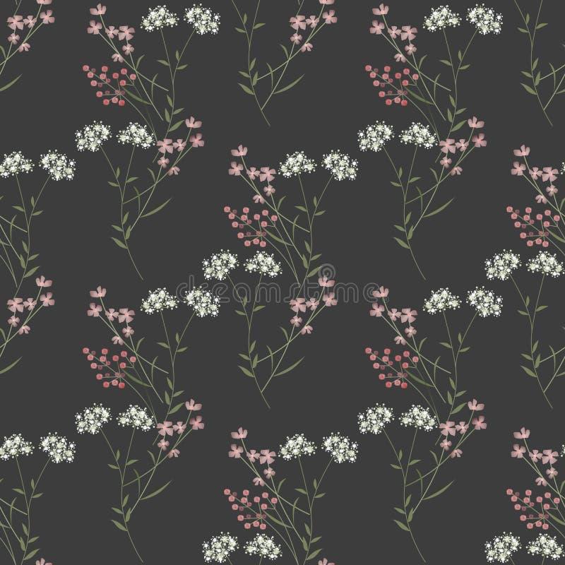 Gulliga filialer av sömlös modelltextur för blommor på grå färger vektor illustrationer