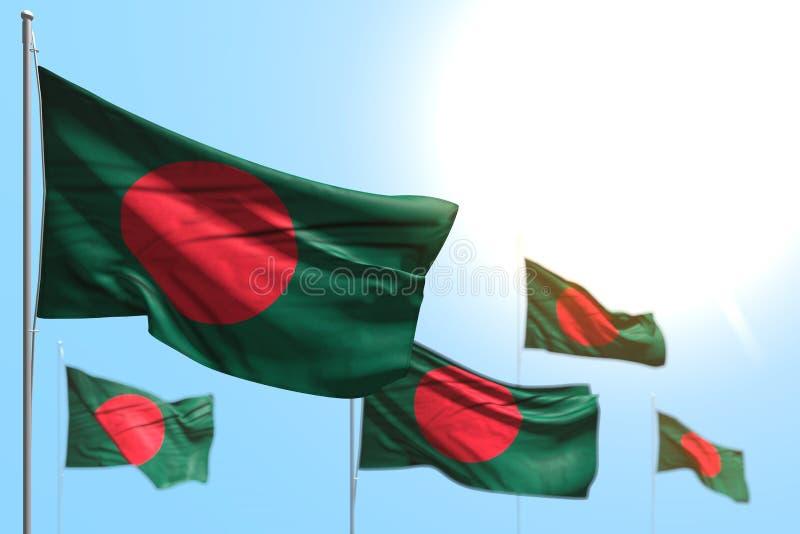Gulliga 5 flaggor av Bangladesh vinkar mot fotoet för blå himmel med bokeh - någon illustration för berömflagga 3d royaltyfri illustrationer