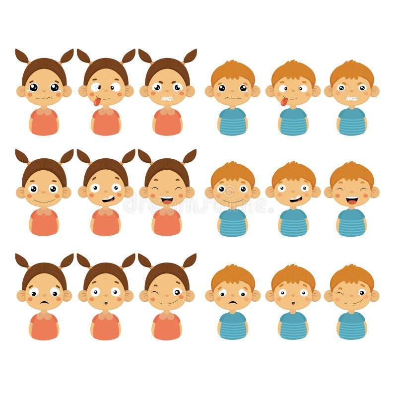 Gulliga flicka- och pojkeframsidor som visar olika sinnesrörelser royaltyfri illustrationer