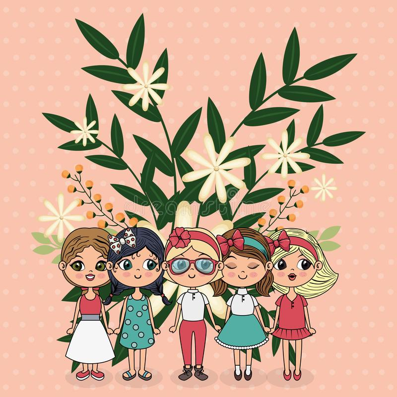 Gulliga flickagrupptecken med blom- garnering vektor illustrationer